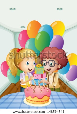 Illustration of a birthday party inside the house
