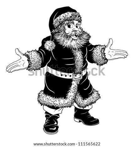 Illustration of a black and white Christmas Santa Claus