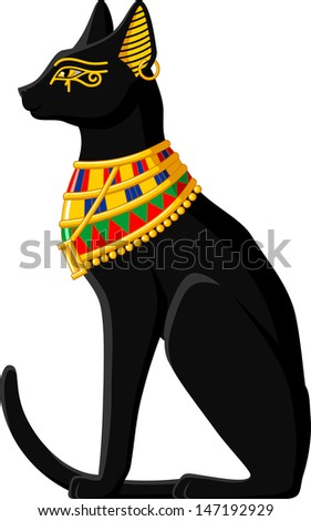 Illustration of a black Egyptian cat isolated on white background.
