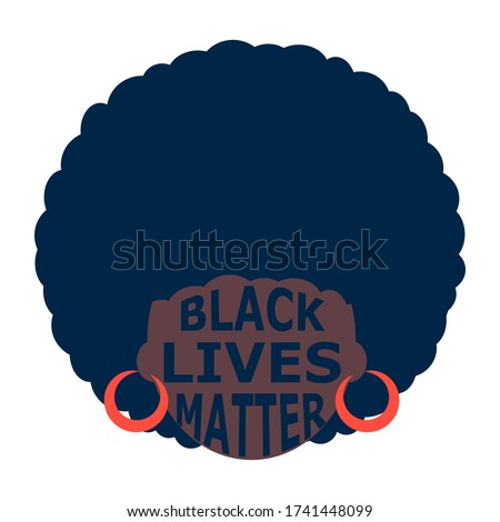 illustration of a black person. black lives matter emblem. poster with black women. Modern abstract design