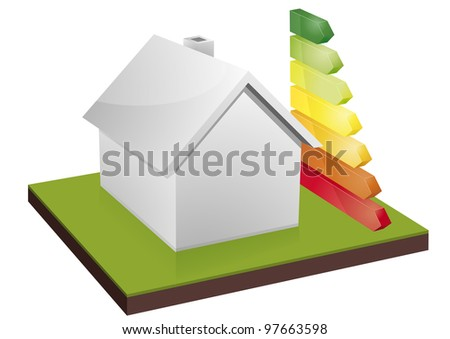 illustration of a blank house with energy efficiency bars