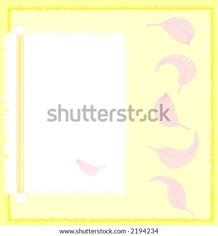 Illustration of a blank notecard, yellow and pink
