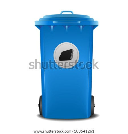 illustration of a blue recycling bin with paper symbol