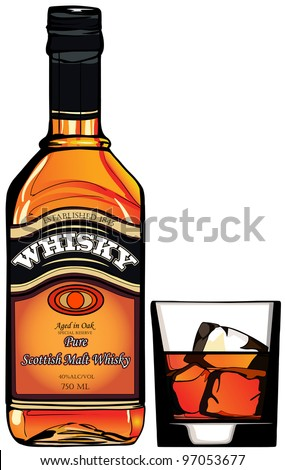 illustration of a bottle of Whisky and a glass