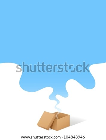 Illustration of a box with blue copyspace