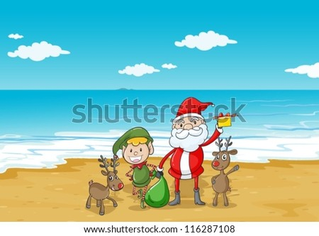 illustration of a  boy, a santa claus and a sea in a beautiful nature