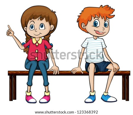 Illustration of a boy and a girl sitting on a bench on a white background