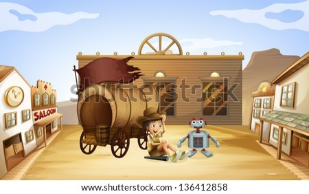 Illustration of a boy and a robot near a wagon