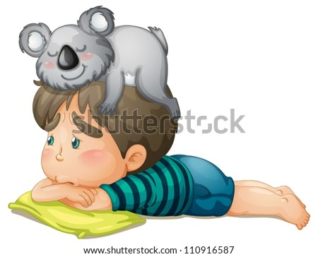 illustration of a boy and bear on white background