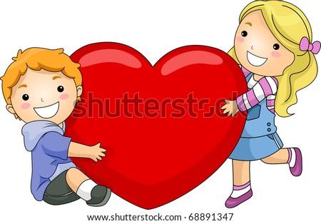 cartoon girl and boy hugging. of a Boy and Girl Hugging