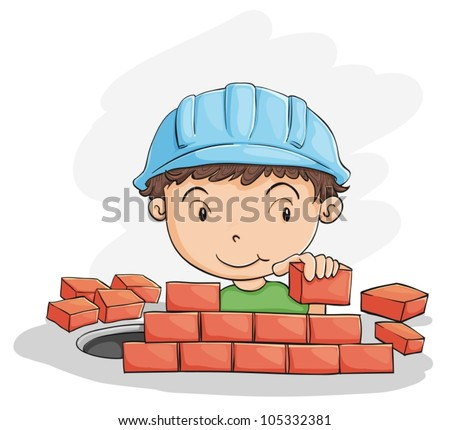 Illustration Of A Boy Building Wall On White