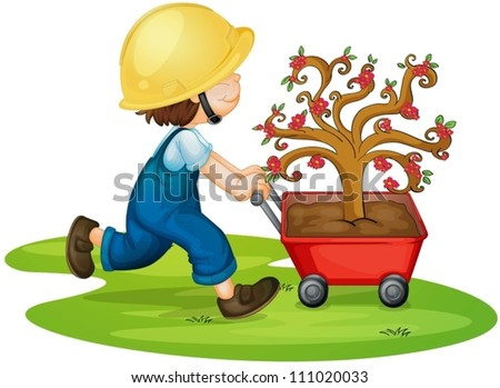 illustration of a boy carrying tree in a trolley