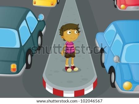 illustration of a boy crossing