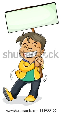 illustration of a boy holding a board on a white