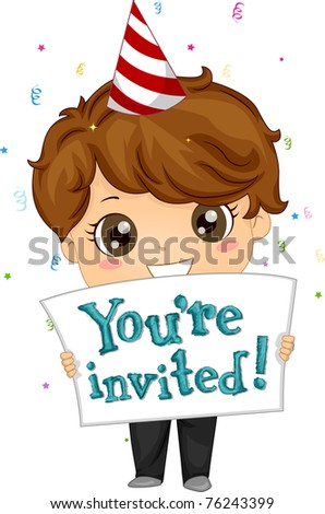 Illustration of a Boy Inviting People to His Party