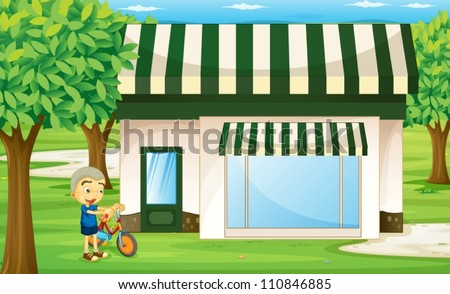 illustration of a boy playing bicycle infront of tent