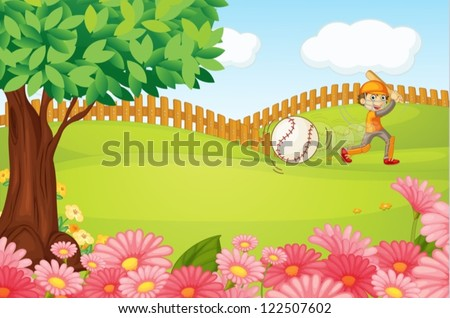 Illustration of a boy playing cricket in a beautiful nature