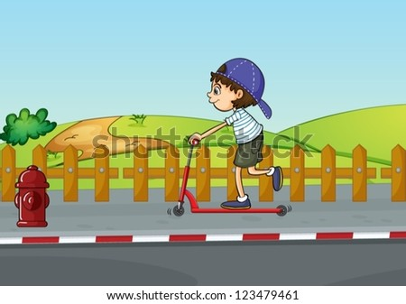 Illustration of a boy playing with a scooter inn a beautiful nature
