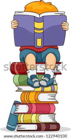 Illustration of a Boy Reading a Book While Sitting on a Pile of Other Books