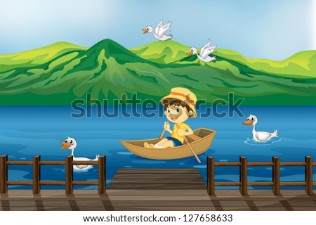 illustration of a boy riding on