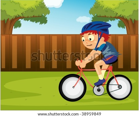 bike riding cartoon. of a boy riding on icycle