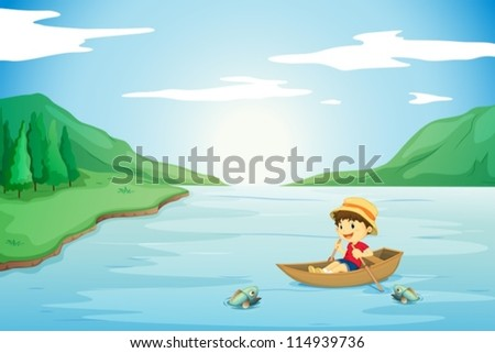 illustration of a boy rowing in a boat in nature