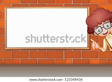 Illustration of a boy showing white board on brick wall