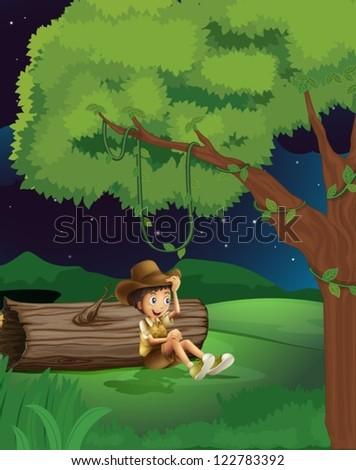 illustration of a boy sitting