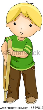 Illustration of a Boy Supporting Himself with a Crutch - stock vector