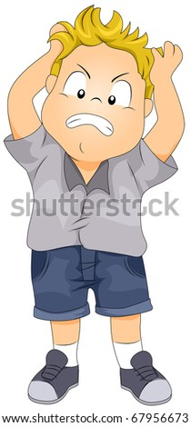 Illustration of a Boy Tearing His Hair Apart