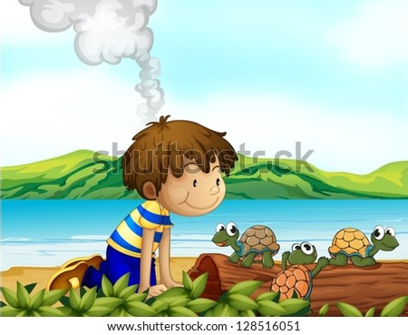 Illustration of a boy watching the three turtles