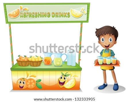 Illustration of a boy with a stall of refreshing drinks on a white background
