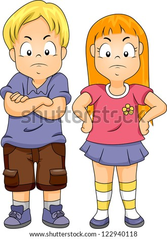 Illustration Of A Boy With His Arms Crossed And A Girl ...