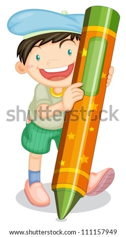 illustration of a boy with pencil on a white background