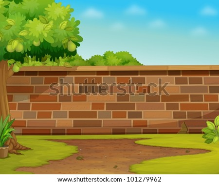 Illustration of a brick wall in a garden