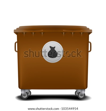 illustration of a brown recycling bin with trash symbol