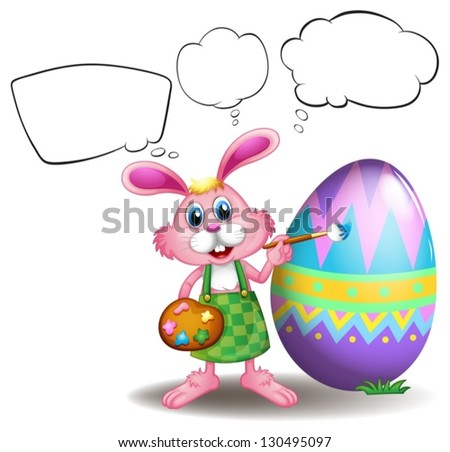 Illustration of a bunny painting an egg with empty callouts on a white background