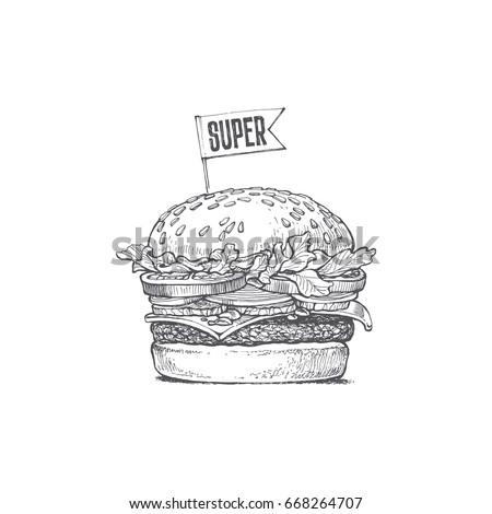 illustration of a burger  super