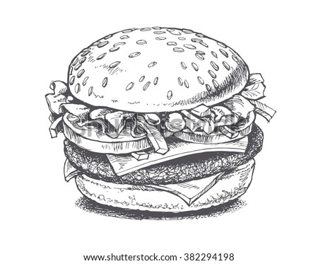 illustration of a burger, vector drawing