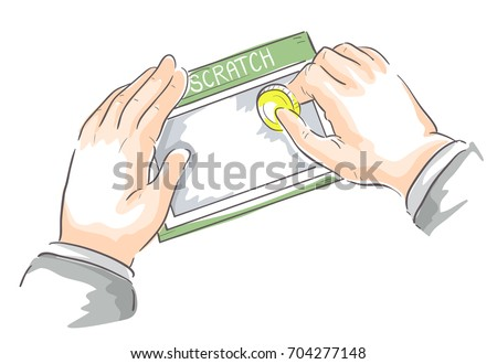 Illustration of a Business Man Hands Scratching a Scratch Card Using a Coin