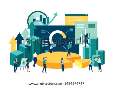 Illustration of a business, office workers study infographics on a graph of columns, analyze the evolutionary scale, business negotiations, raise the vector