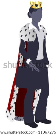 Illustration of a business woman king in business suit with royal cape and crown.