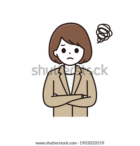 Illustration of a business woman with a troubled face and arms folded Сток-фото ©