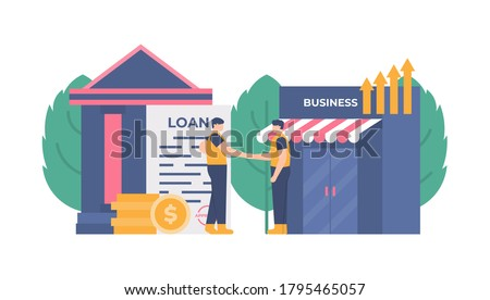 illustration of a businessman borrowing or owing money in the bank to improve his business. the concept of cooperatives, money lending services, agreements, pawnshops. flat design. can be used for UI Stockfoto ©
