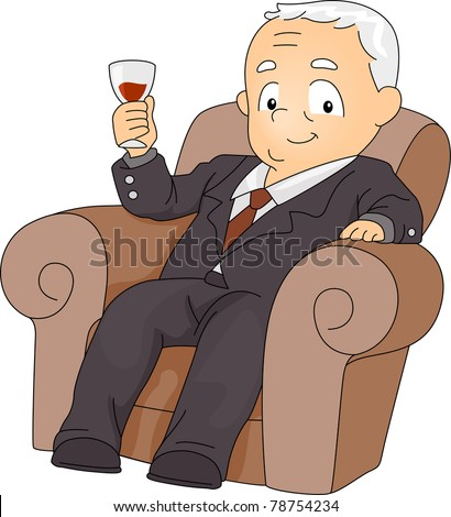 Illustration of a Businessman with His Wine Glass Raised