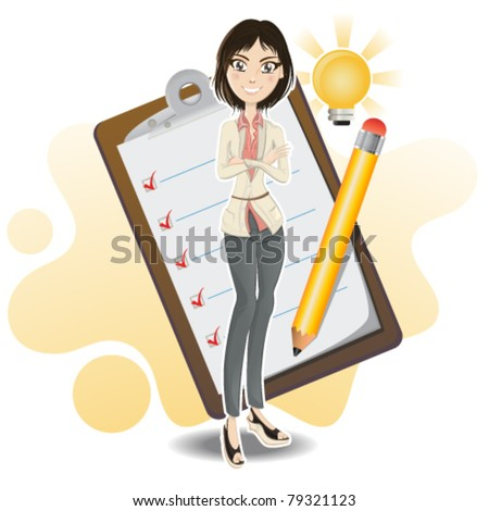 Illustration of a businesswoman making a business checklist from her brilliant idea with notepad and pencil.