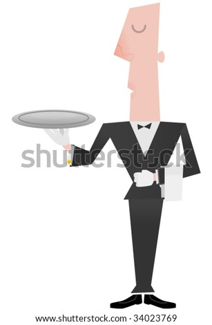 Illustration of a butler or waiter holding an empty tray. - stock vector