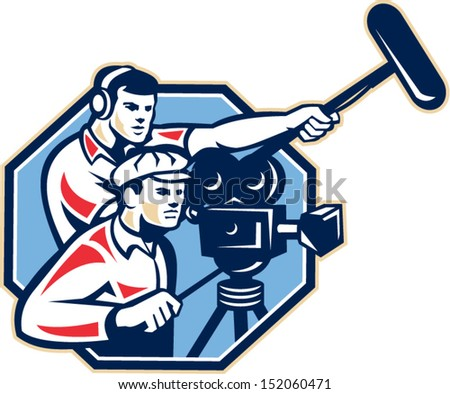 Illustration of a cameraman with vintage film movie camera and soundman worker with headphone holding a telescopic microphone boom done in retro style.