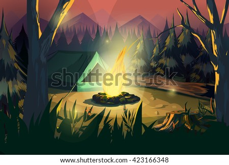 illustration of a campfire