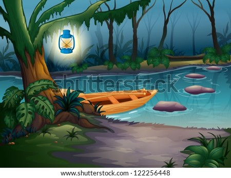 illustration of a canoe in a